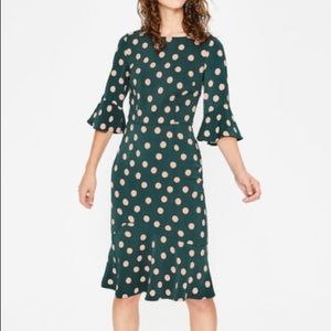 Boden Flippy Pencil Dress Seaweed Spot 12, NWT